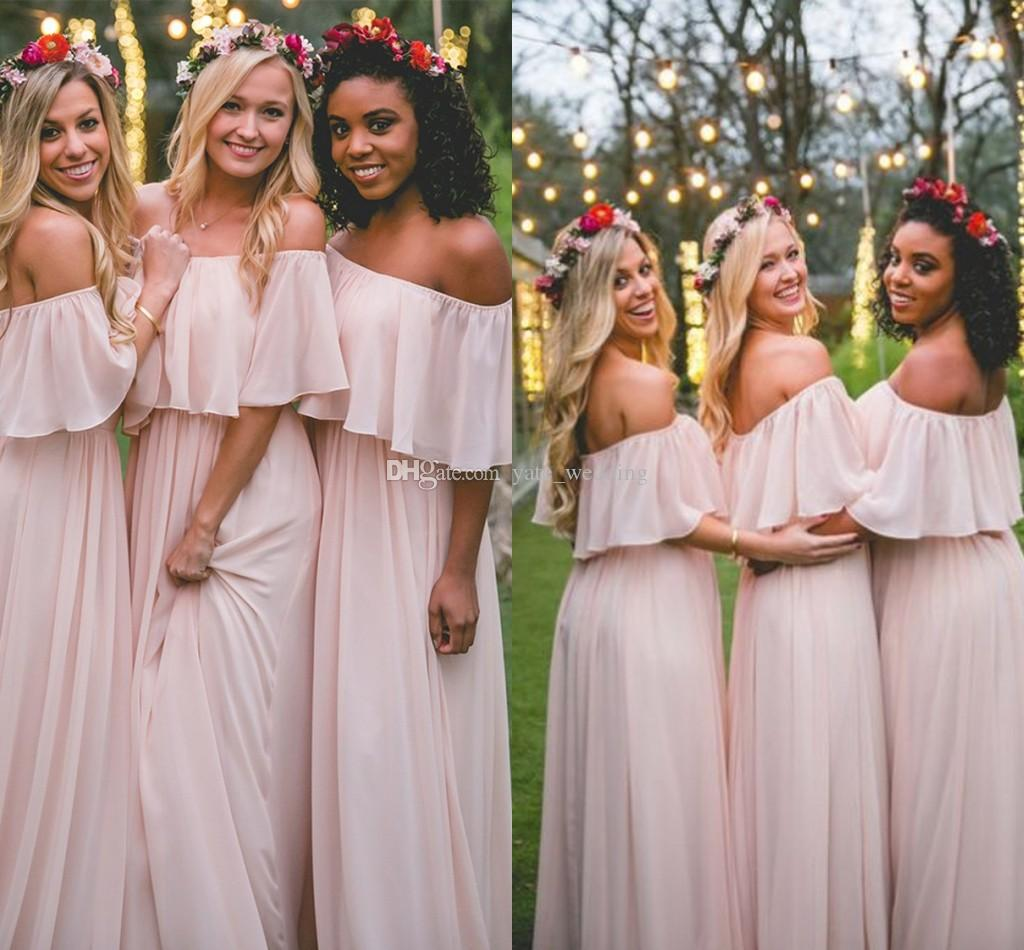 Flowy pink boho bridesmaid dresses off shoulder chiffon floor flowy pink boho bridesmaid dresses off shoulder chiffon floor length bohemian bridesmaid dresses beach bridal gowns maid of honor cute bridesmaid dresses ombrellifo Images