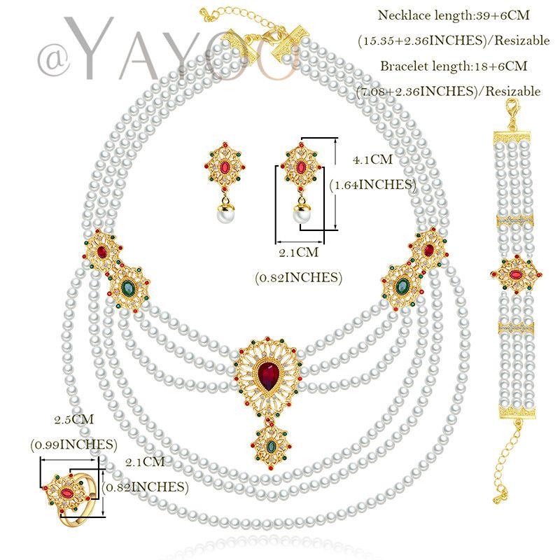 Taklit Inciler Kadınlar Için Kristal Altın Renk Düğün Takı Setleri Kolye Küpe Bilezik Yüzükler Gelin Elbise Aksesuarları