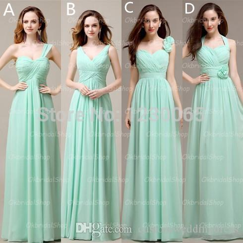 vestidos noiva discount long mint chiffon mismatched bridesmaid dresses formal custom free shipping 2018 flowers new long gown
