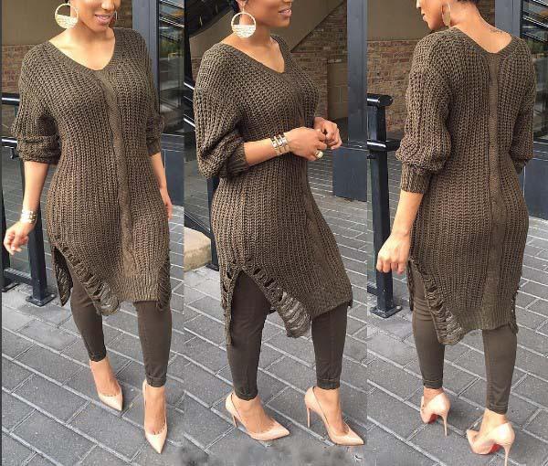2019 2016 Europn Women Long Sleeve Knitted Sweater Plus Size Dew Shoulder  Loose Sweater Hollow Hole Long Sweater Jumper Winter Dress From  Johnbob1994, ...