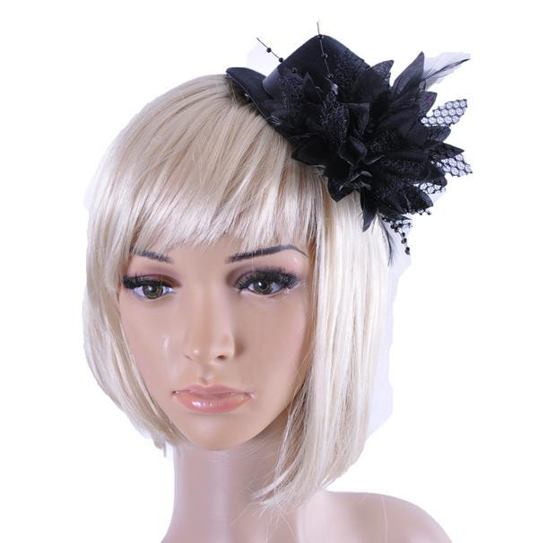 women bride fascinator mini top hat cap wedding ribbon gauze lace feather flower hats party hair clips caps millinery hair jewelry xmas gift