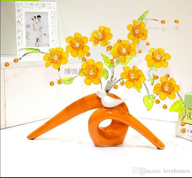 Modern Lucky birds 9 Shapes Ceramic Vase for Home Decor Tabletop this pirce is for a set vase and flowers together