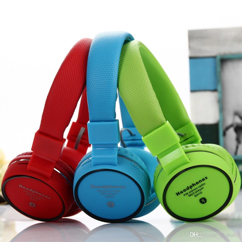 Fashion Pro Wireless Over-ear Bluetooth Clear Bass Headphone SH10 con HD Micro admite radio FM estéreo y tarjeta TF