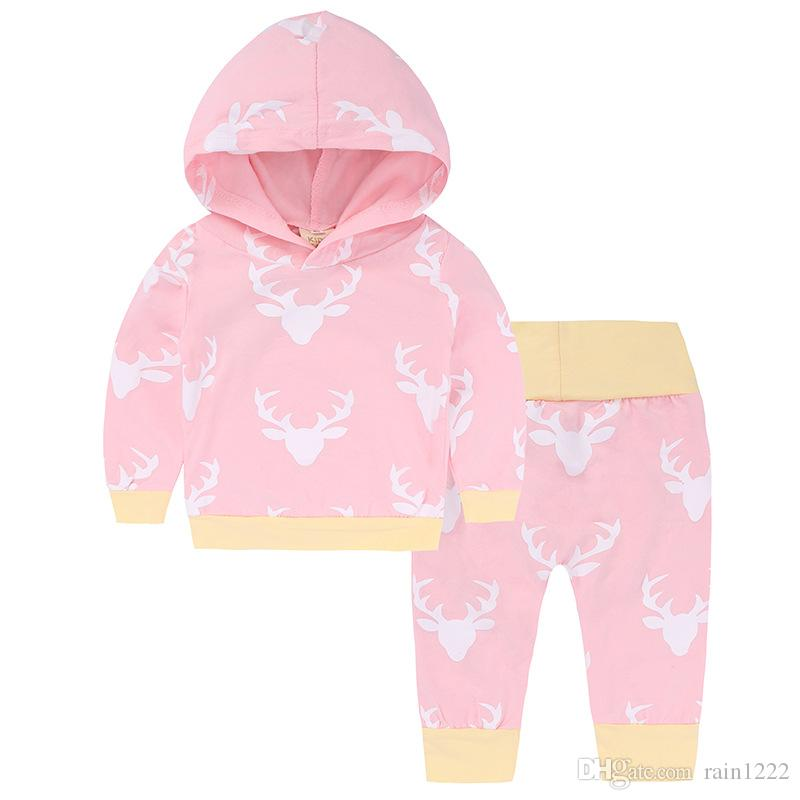 2017 Baby Christmas Clothing Sets Babies Xmas Chrismas Deer Hoodie Pants Suits Infants Toddlers Cotton Long Hoody Clothes Trousers Outfits