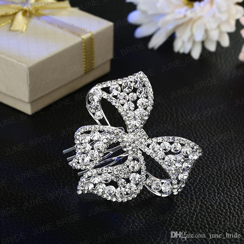 Luxury Crystal Bowknot Bridal Hair Comb Shinny Rhinestone Butterfly Floral Wedding Prom Party Hair Jewelry Accessory Headpiece