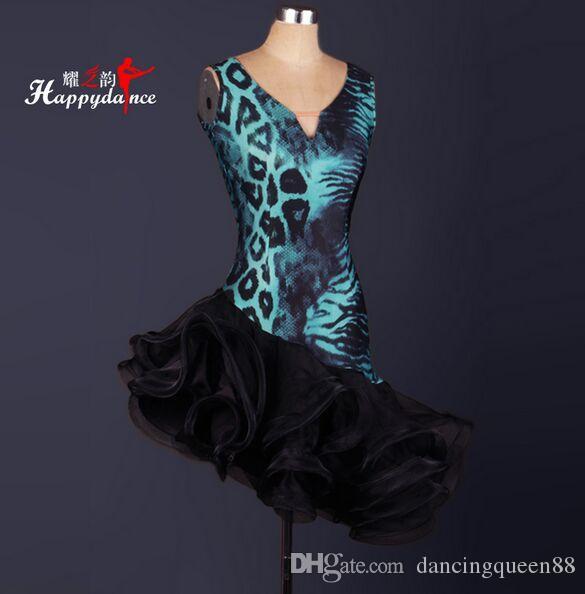 Custom New 2018 robes de danse latine robes de danse léopard salle de bal Cha Cha / Rumba / Samba Dancewear robe de danse