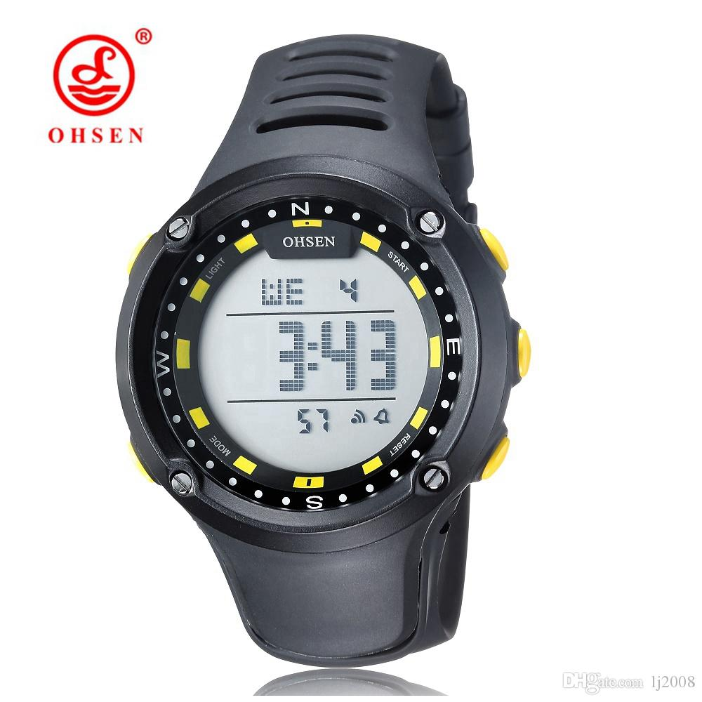 9ee3c21d622 Famous Brand OHSEN Mens Digital LED Military Watch Rubber Band Yellow  Fashion Sports Waterproof Wristwatches Reloj Masculino Hombre Relojoes