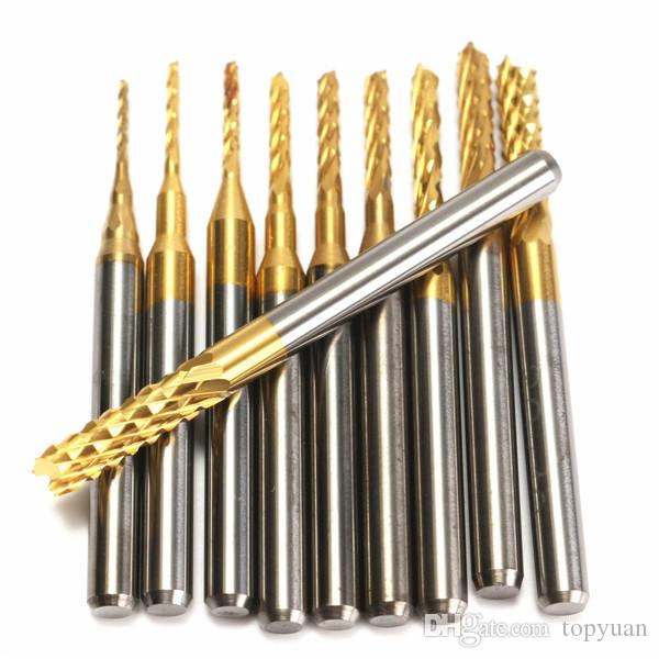 Drillpro 0.8-3mm Titanium Coated PCB Drill Bits Carbide Engraving Milling Cutter for CNC Rotary Burrs