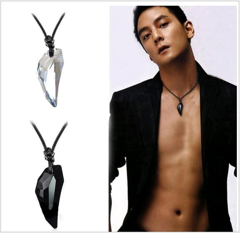Swarovski Multicolor Fangs Shape Austrian Crystal Pendant Men Women European Wolf Teeth Long Rope Chain Necklaces Couples Jewelry