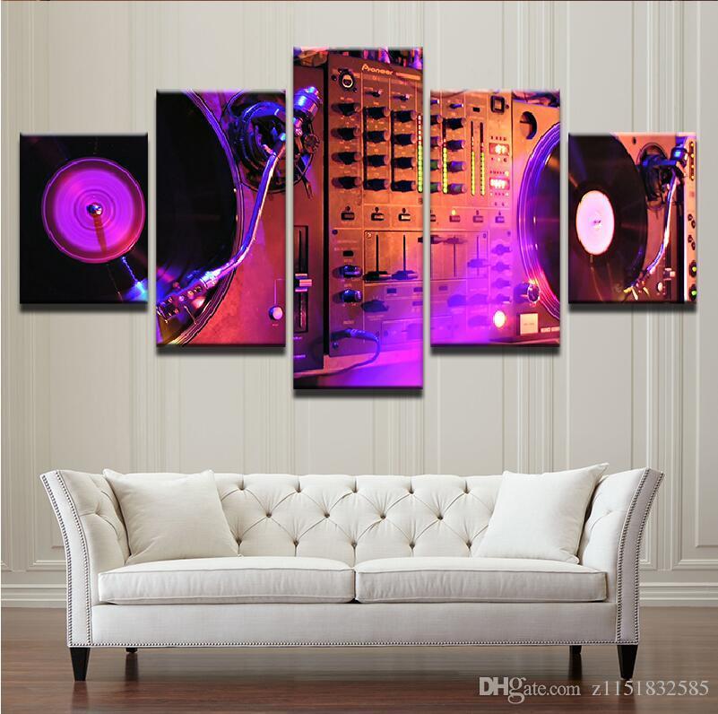 Quadri astratti Living Room Wall Art Stampe su tela 5 pezzi Music DJ Console Mixer strumento Home Decor Poster