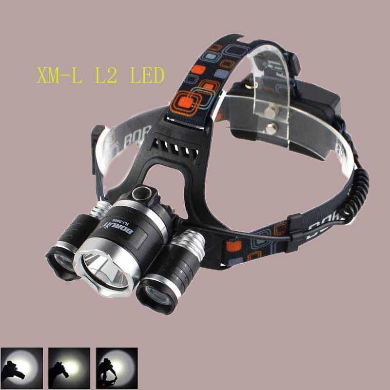 Headlamp Boruit 8000 Lumen Super Bright 3X CREE XML L2 LED Head Torch Flashlight USB Lamp Headlight