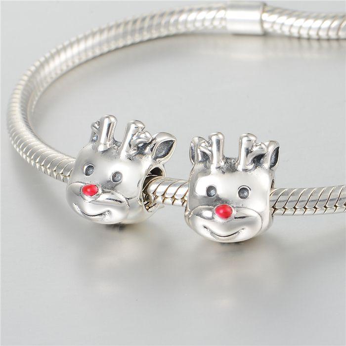 Animal de natal cervos encantos S925 prata esterlina serve para pandora estilo charme pulseiras frete grátis aleCH643H9