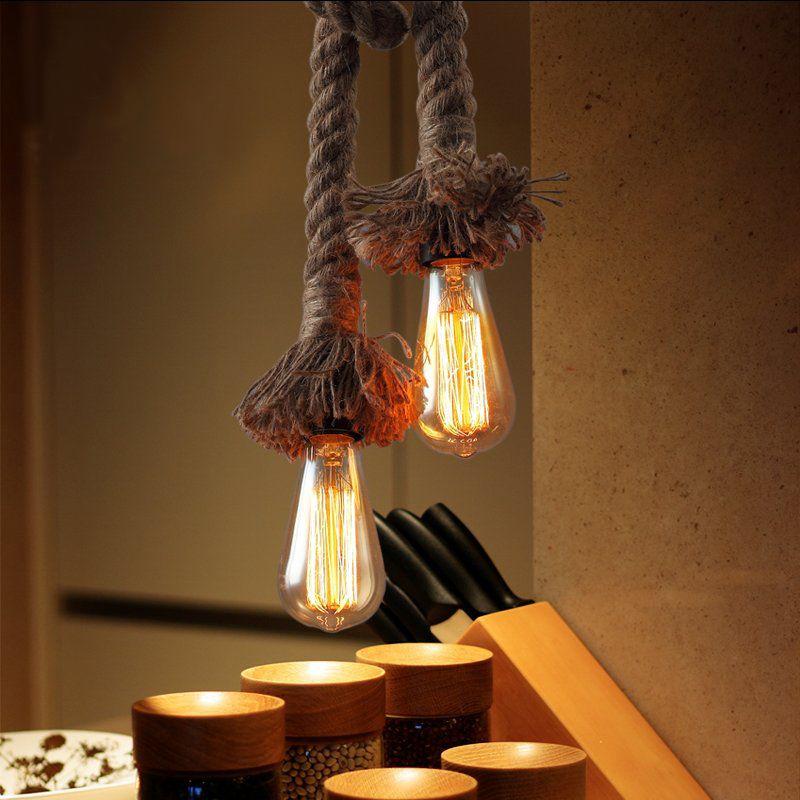 1M 2.5M Length Retro Pendant Lamp led chandeliers Lighting E27 Rope Lamp Holders Vintage Hand Knitting Hemp Lamp Holders AC85-265V