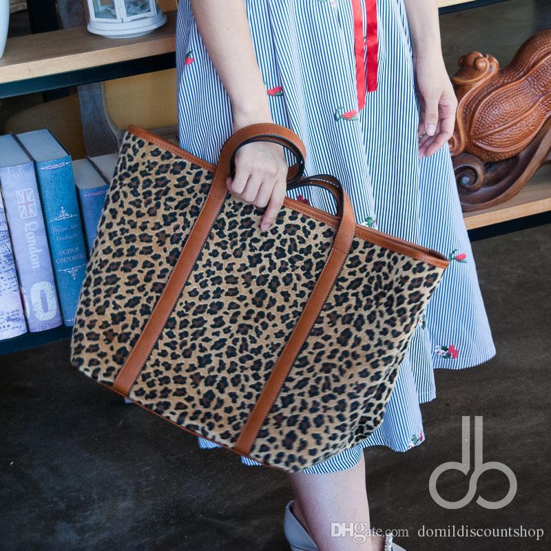 short furWholesale Blanks Leopard Fashion Tote Bag with PU Faux Leather Handles Cheetah Women Handbag DOM103664