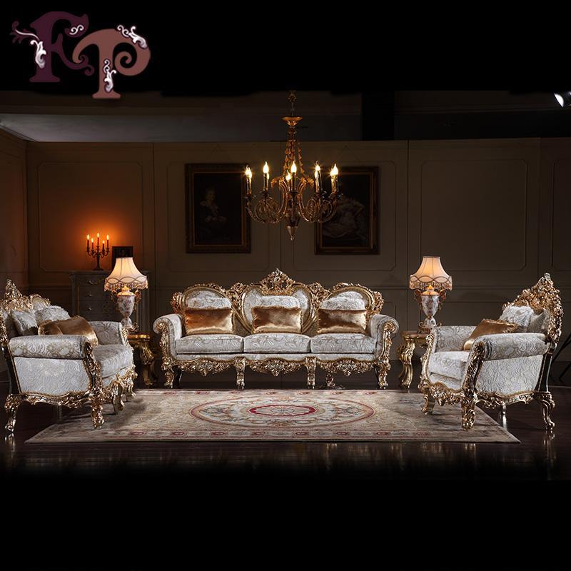 Hochwertige italienische klassische Wohnzimmermöbel-Massivholz  handgeschnitzte Möbel aus China Versandkostenfrei