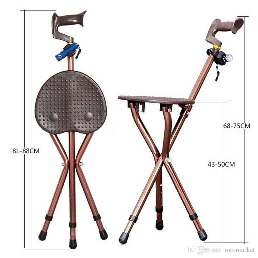 Camping Adjustable Folding Walking Cane Chair Stool Massage Walking Stick with Seat Portable Fishing Rest Stool