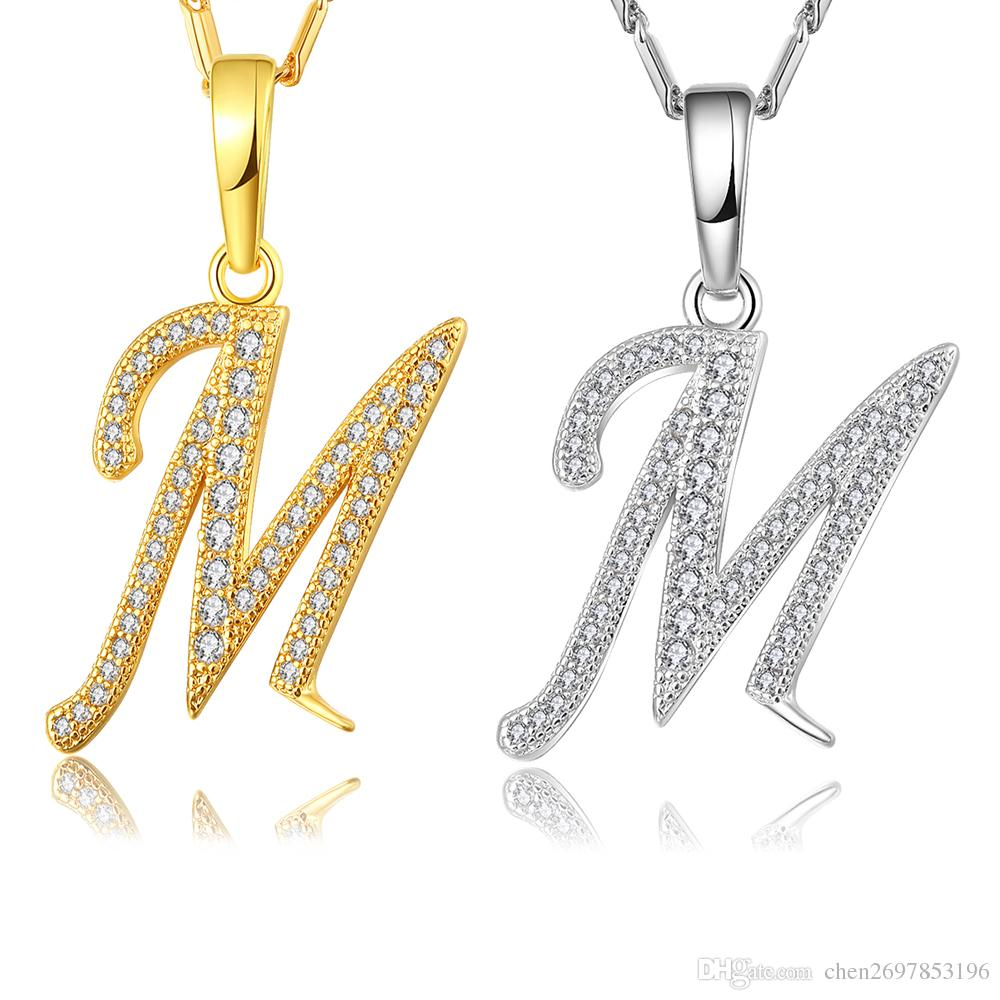 Wholesale capital initial m letter necklace for women silver gold color alphabet pendant chain name jewelry gift for her circle pendant necklace key