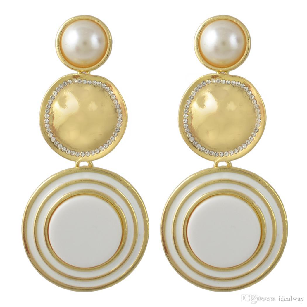 Idealway es chapado en oro esmalte perla redonda Rhinestone Pendientes de gota Accesorios de joyería para mujeres