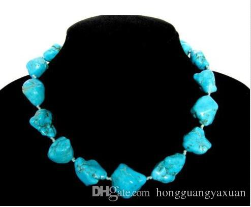 Gemstone Necklace Blue Turquoise 18-26mm Nuggets