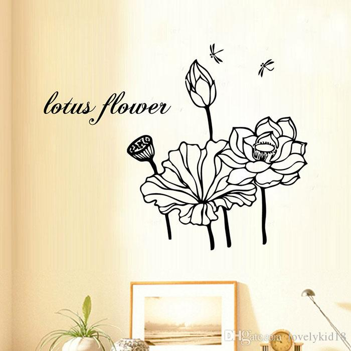 Lotus Flower Wall Art black lotus forever wall stickers lotus flower wall decals mural