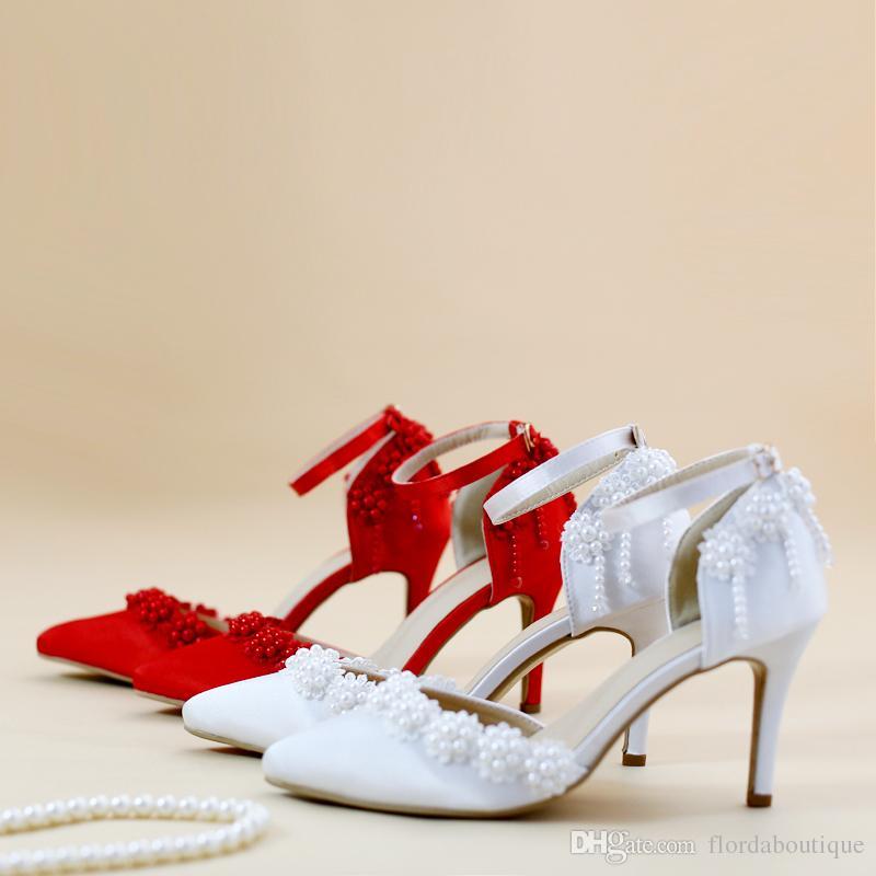 compre 2018 nuevo rojo / blanco zapatos de novia acentos de encaje