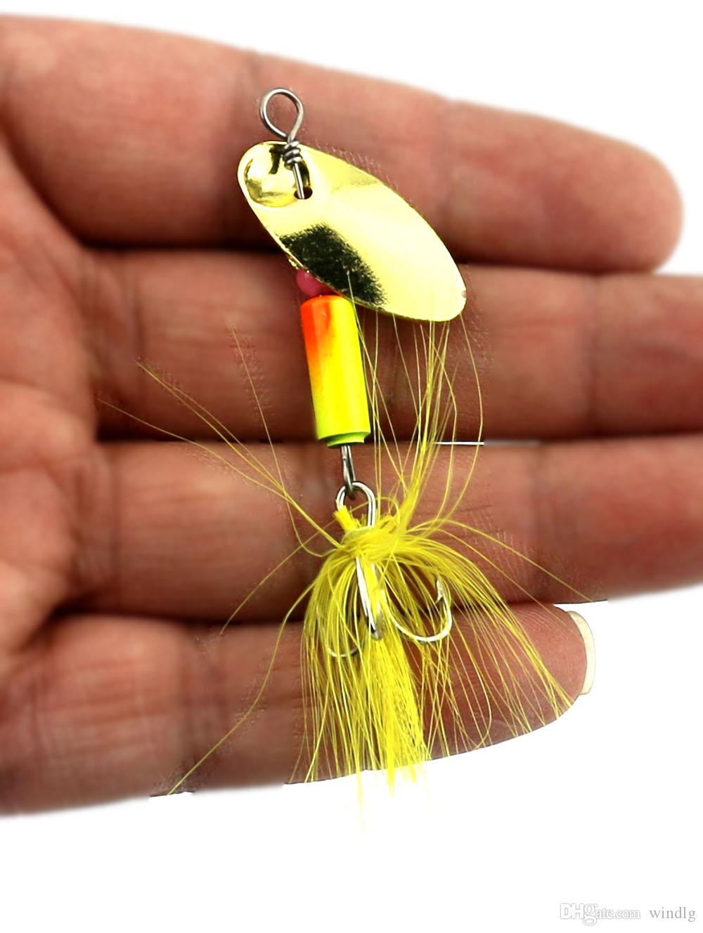 HENGJIA new metal fishing lure spoon spinner fishing bait bass baits spinning bait with feathers and hair hooks 5.5cm 3.7g