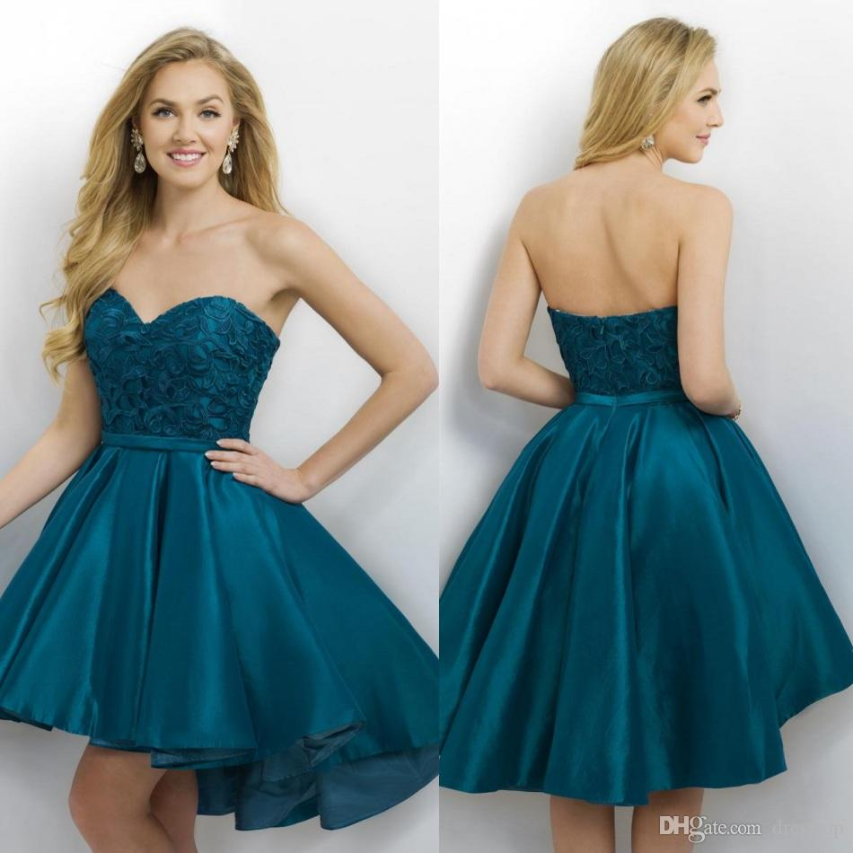 2016 Lace High Low Homecoming Dresses Cheap Strapless