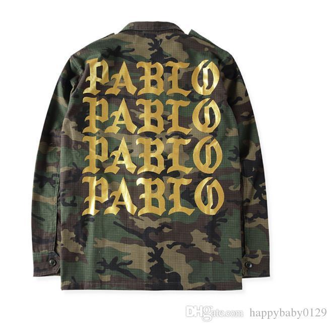 1258d4771f Rosso oro Pablo lettere stampa verde militare giacca mimetica uomini Kanye  West moda streetwear frangivento cappotti di skateboard