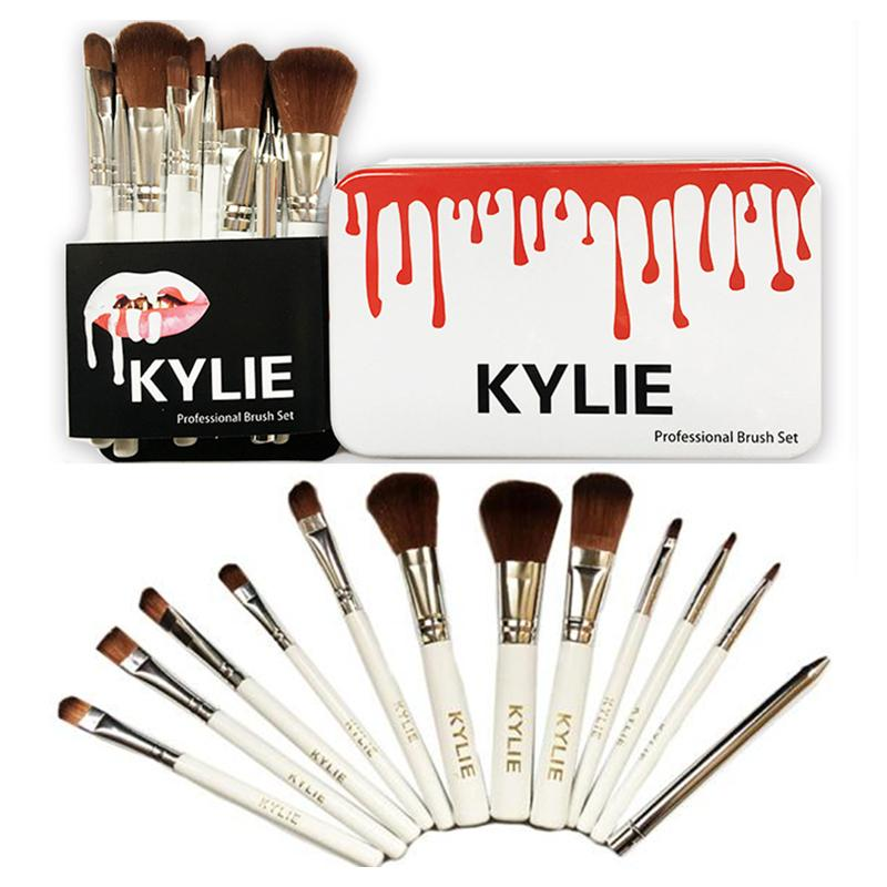 12pcs Kylie Professional Brush Sets for Makeup Brands Makeup Brushes Eyeshadow Blush Lips Cosmetic Tools Make Up Brush Kit with Iron Box
