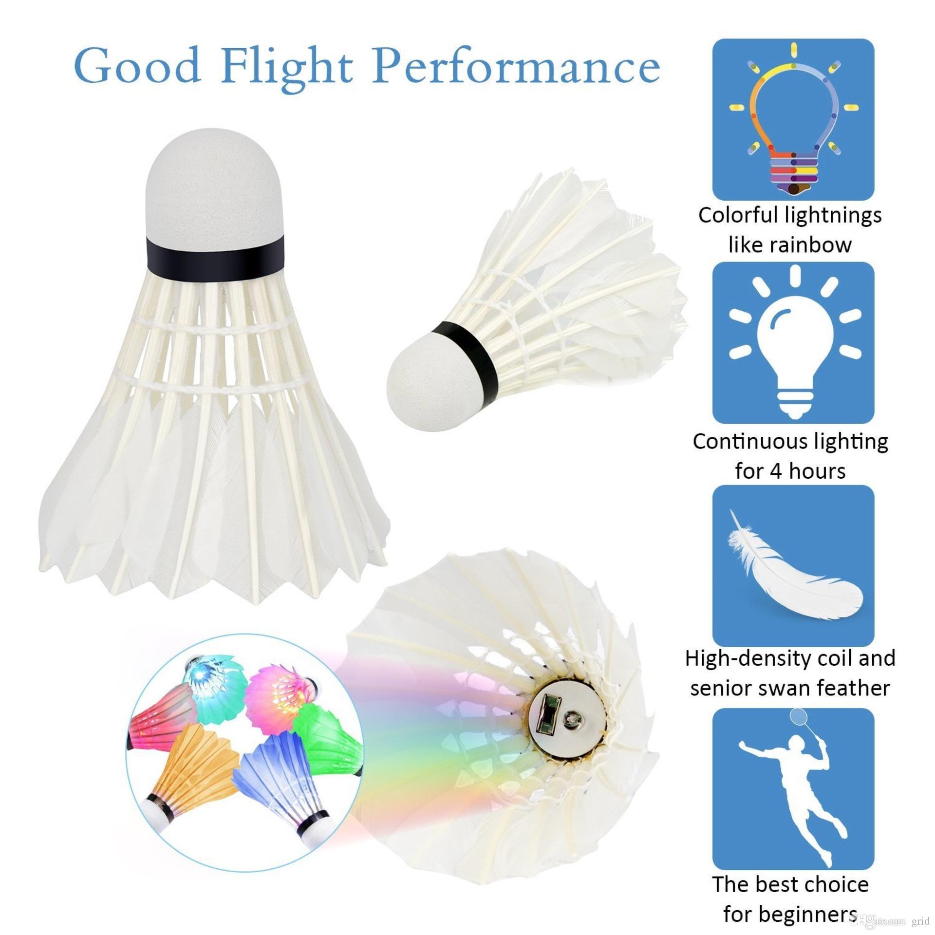 Gros LED Badminton Volant Birdies Éclairage LED Lumière Badminton Rouge Bleu Vert Lampe De Poche Nouveauté Éclairage Coloré Badminton