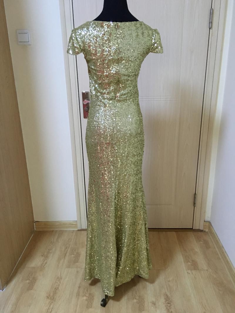 Champagne ouro vestido de lantejoulas com decote em v 2018 tampado longo dama de honra vestido real foto