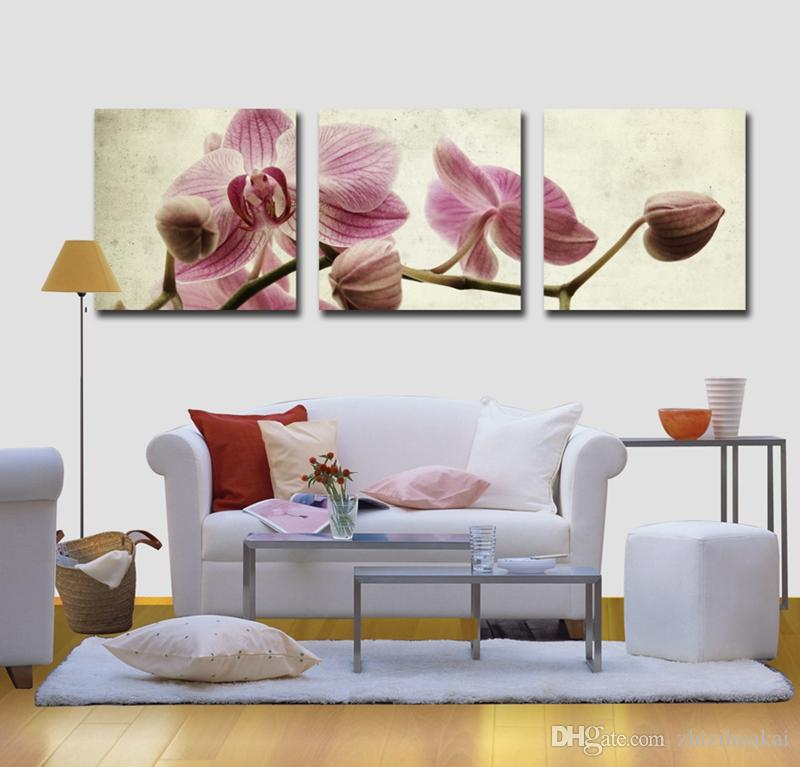 no frame Hot selling art picture Canvas Prints Lotus leaf fish peony tulips orchid Chrysanthemum Cartoon flower