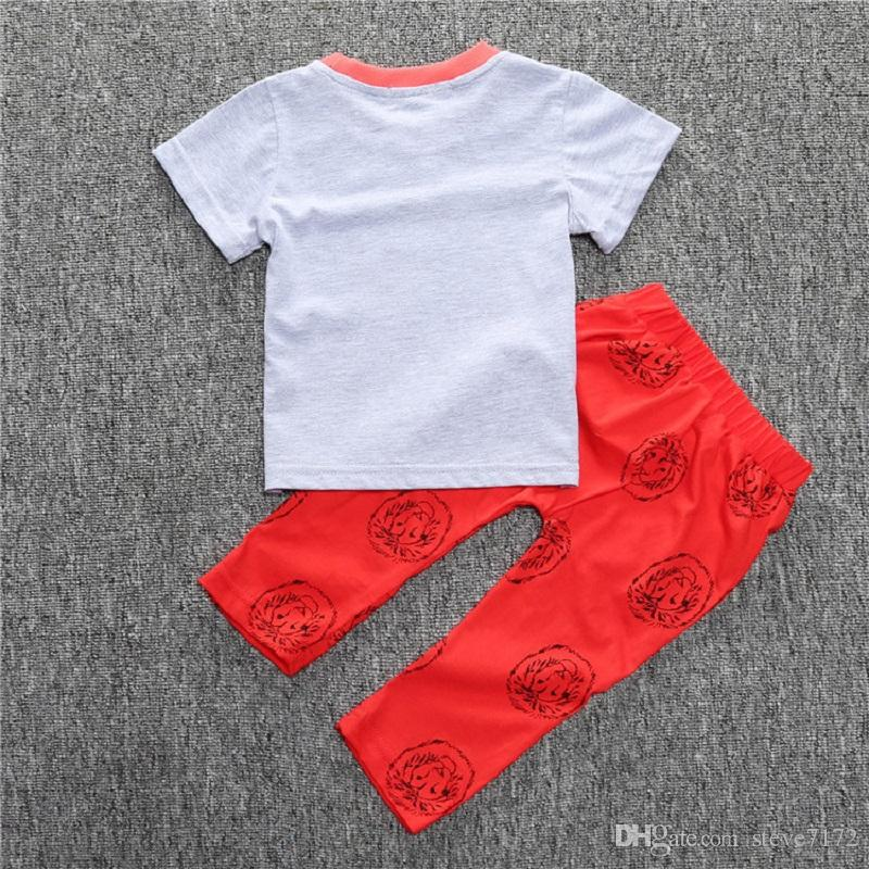 Lion Baby Boys Clothes Set Summer Babe Grey T-Shirt Long Pant 100% Cotton 70 80 90 100 Toddler Clothing Suit Outfits Red Trouser Soft Tees