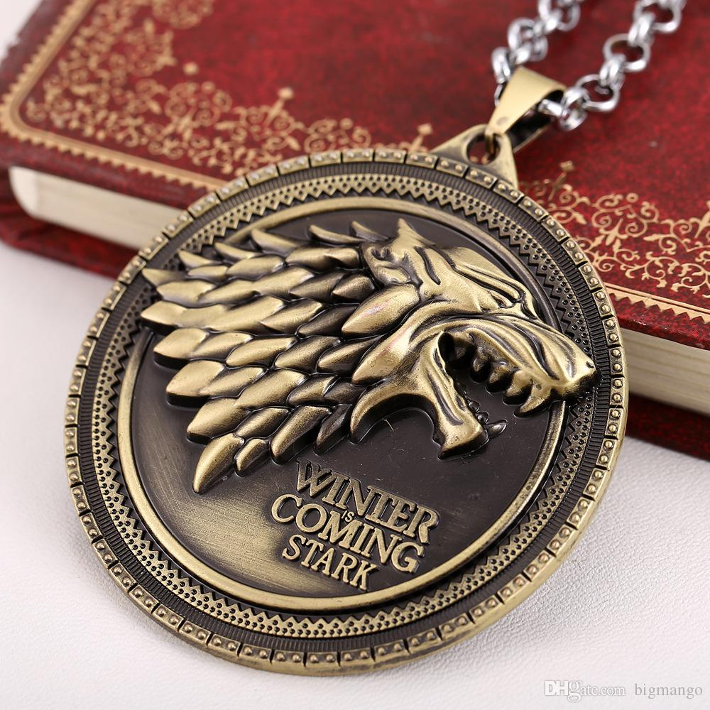 Game of Thrones House for Stark DireWolf Head Sigil Silver Metal necklace