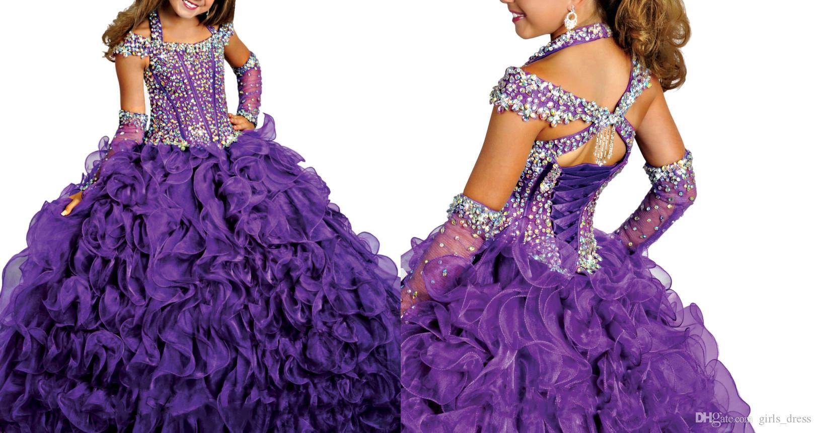 Compre Off Hombro Púrpura Vestidos 2016 Nueva Princesa Girls ...