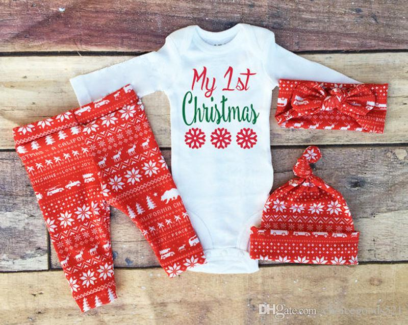 2018 newborn baby girl clothes set xmas christmas baby kids girls boys long sleeve romper top pant hat headband clothes set from choicegoods521