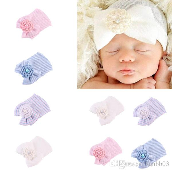 New Autumn Winter Infant Baby Cotton Knitted Hat Crochet Flower ... 325de8beb19c