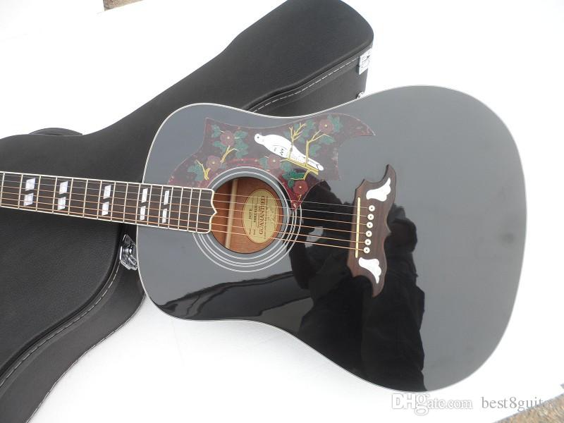 """Wholesale Custom High Quality 41"""" Black Dove Spruce Top Rosewood Fretboard Acoustic Guitar China Guitar"""