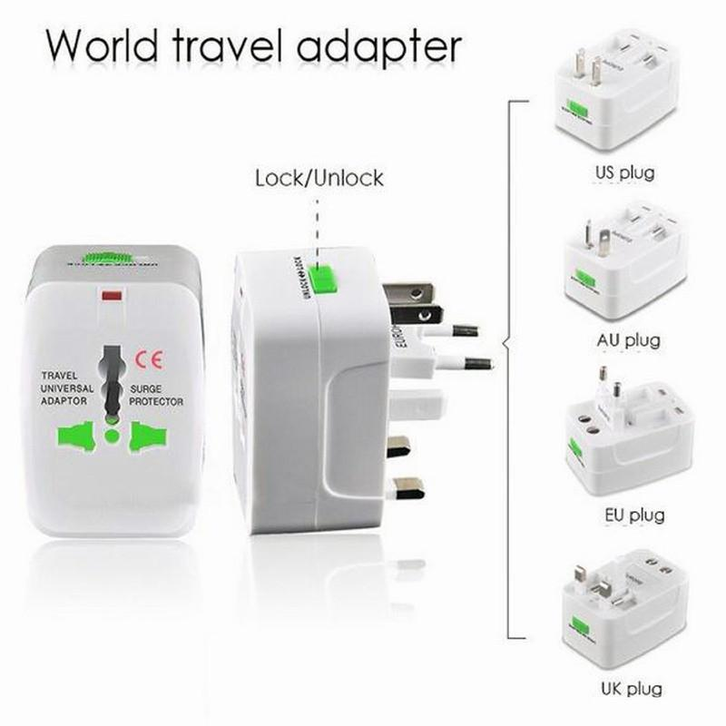 Wholesale 100psAll in One Universal Plug Adapter World Travel AC/DC Power Socket Charger Adaptors with AU US UK EU Converter plug