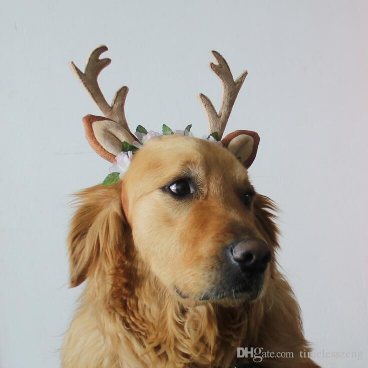 3 Size Christmas Pet hairband Antlers Headband Christmas Reindeer Antlers Cat Puppy Grace Hat Christmas Pet Decoration