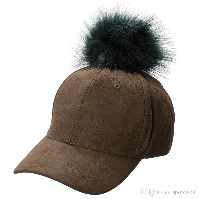 New Stylish Adjustable Womens Unisex Fur Pom Pom Suede Baseball Cap Hip Hop Girls Hat A383