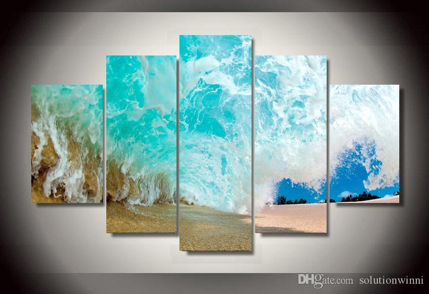 5 Parça HD Baskılı Plaj dalgaları Grup Boyama tuval odası dekorasyon baskı posteri resim tuval çerçeveli Ücretsiz kargo