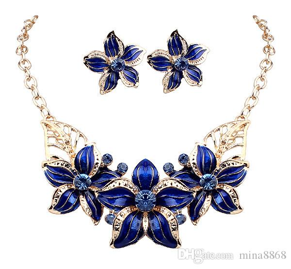 La joyería caliente Seling 18K plateó el cristal austríaco flor del esmalte collar africano de moda y aretes para las mujeres DHW254