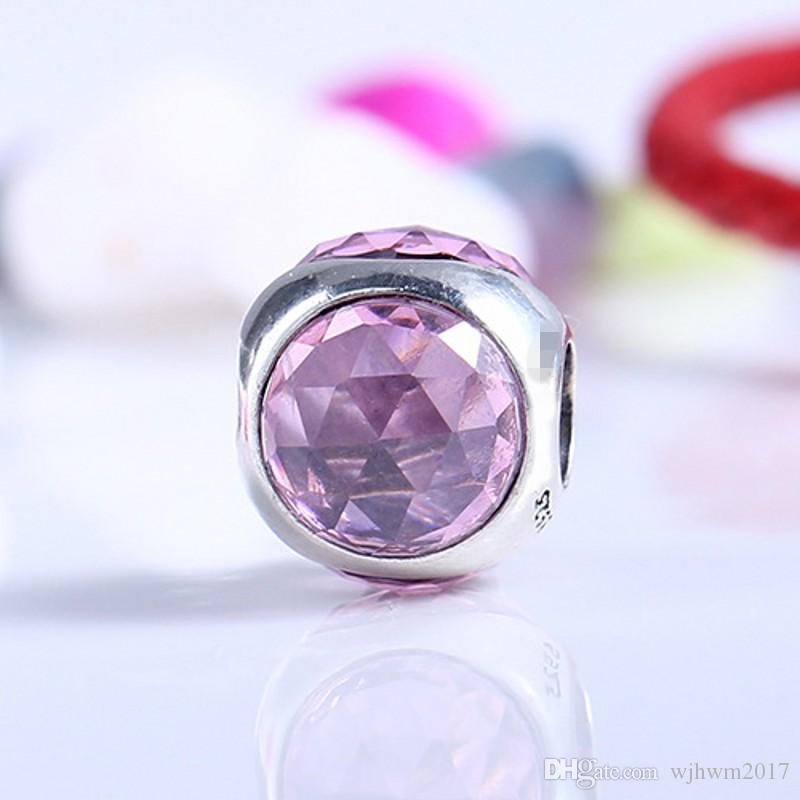 Yeni Pembe Kristal Radyant Damlacık Faceted Charms Boncuk DIY Bilezikler Takı Yapımı Için Otantik 925 Ayar-Gümüş-Takı aksesuarları