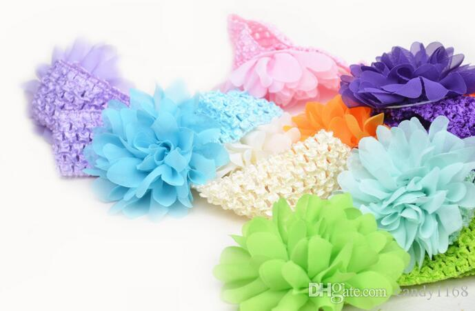 baby Headwear Head Flower Hair Accessories 4 inch Chiffon flower with soft Elastic crochet headbands stretchy