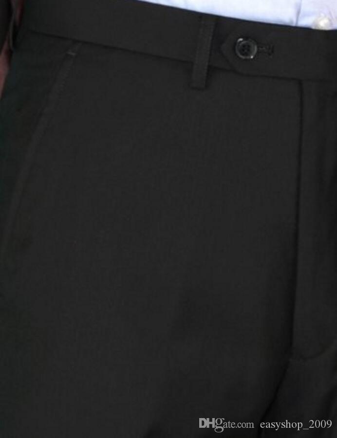 Tuxedos su misura Tuta da uomo classica classica da uomo Abito da sposo nero abito da sposa 2 bottoni Notch Risvolto giacca + pantaloni