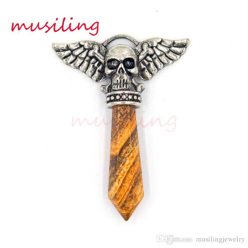 Skull Wing Pendants Natural Stone Pendant Jewelry Mens Jewelry Charms Bohemian Chakra Amulet Amethyst Crystal Quartz Opal etc Stone Jewelry