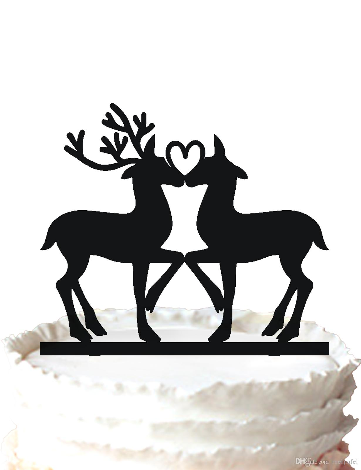 2018 Two Deer Silhouette Wedding Cake Topper And A Heart On Its In Love DecorFor Option From Meijiafei 183