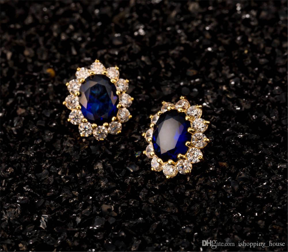 2016 neue Ankunft Hohe Qualität Blingbling blau / rot Österreich Kristall vergoldet ohrringe ohrstecker neue modeschmuck für frauen