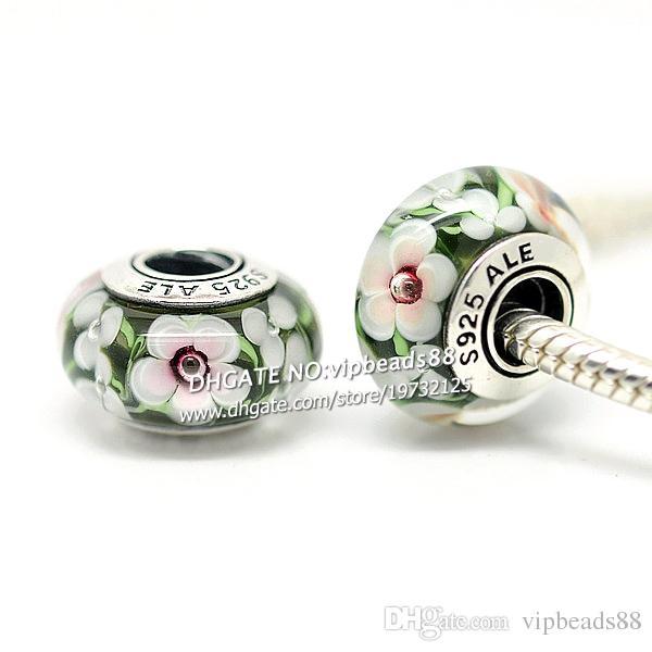 S925 gioielli in argento sterling fiori bianchi perline in vetro di murano adatto europeo fai da te pandora bracciali collana di fascino 261